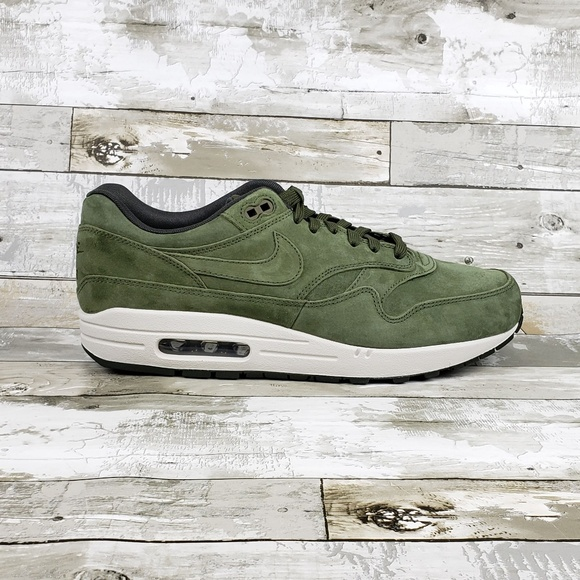 Nike Air Max 1 Premium Suede Olive Green White NWT
